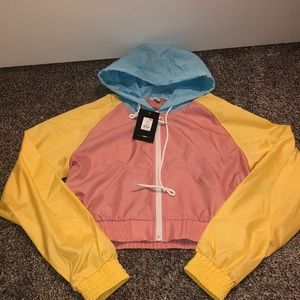 Colorful cropped windbreaker